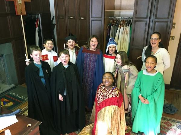 Children wearing vestments